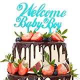Welcome Baby Boy Blue Cake Topper - Baby Shower Birthday Gender Reveal Party Supplies Decorations