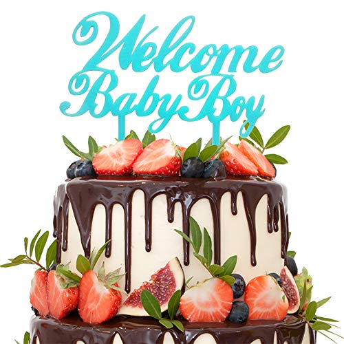 Welcome Baby Boy Blue Cake Topper - Baby Shower Birthday Supplies Decorations
