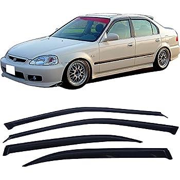 Window Visor Fits 1996-2000 Honda Civic | Slim Style Smoke EK2 EK Sun Rain Wind Window Guard Sun Shade Wind Deflector 1.6MM by IKON MOTORSPORTS | 1997 1998 1999