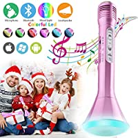 Karaoke Microphone for Kids, Kids Microphone Bluetooth With Speaker Wireless Echo Child Karaoke Mic Portable Cordless Singing Machine for Music Boys Girls Adult Party Gift Andriod IOS Phones (Pink)