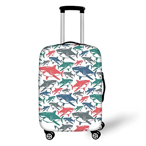 Travel Luggage Cover Suitcase Protector,Sea Animal Decor,Mix of Colorful Bull Shark Family Pattern Masters of Survival Kids Nursery,Multi,for Travel