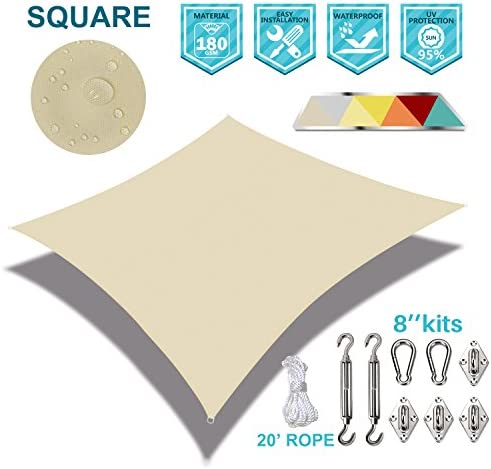 Coarbor Waterproof 24 x24 Customized Sun Shade Sail Canopy Came with Hardware Kit Square UV Block Polyester for Pergola Carport Awning Patio Yard- Make to Order-Beige