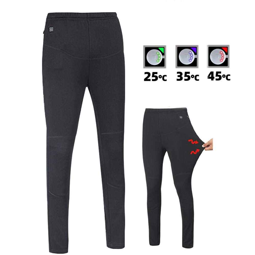 roroz Insulated Heated Trousers, USB Heated Pants, Men's Electric Heating Clothes, Warm Knee Pads, Washable High-Elastic Pants, for Outdoor Camping Riding (Not Include Mobile Power),Black-XXXXXL