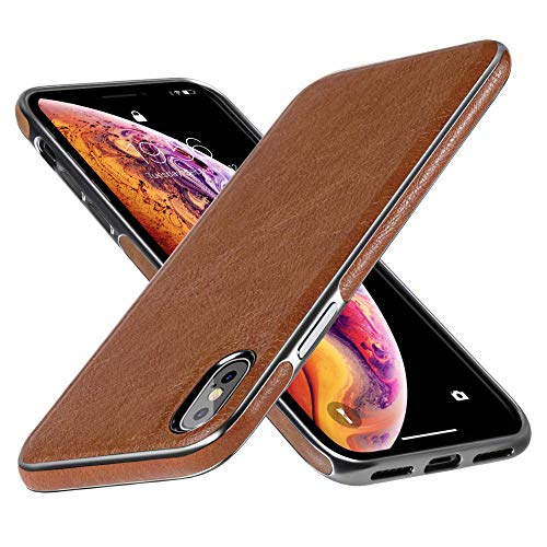 DIACLARA iPhone Xs Max Leather Case Compatible with iPhone 6.5 Brown Cover Electroplating Luxury Stylish Sleeves Ultra Slim & Thin Soft TPU Bumper Anti-Slip Scratch Resistant Cases (Brown, 6.5)
