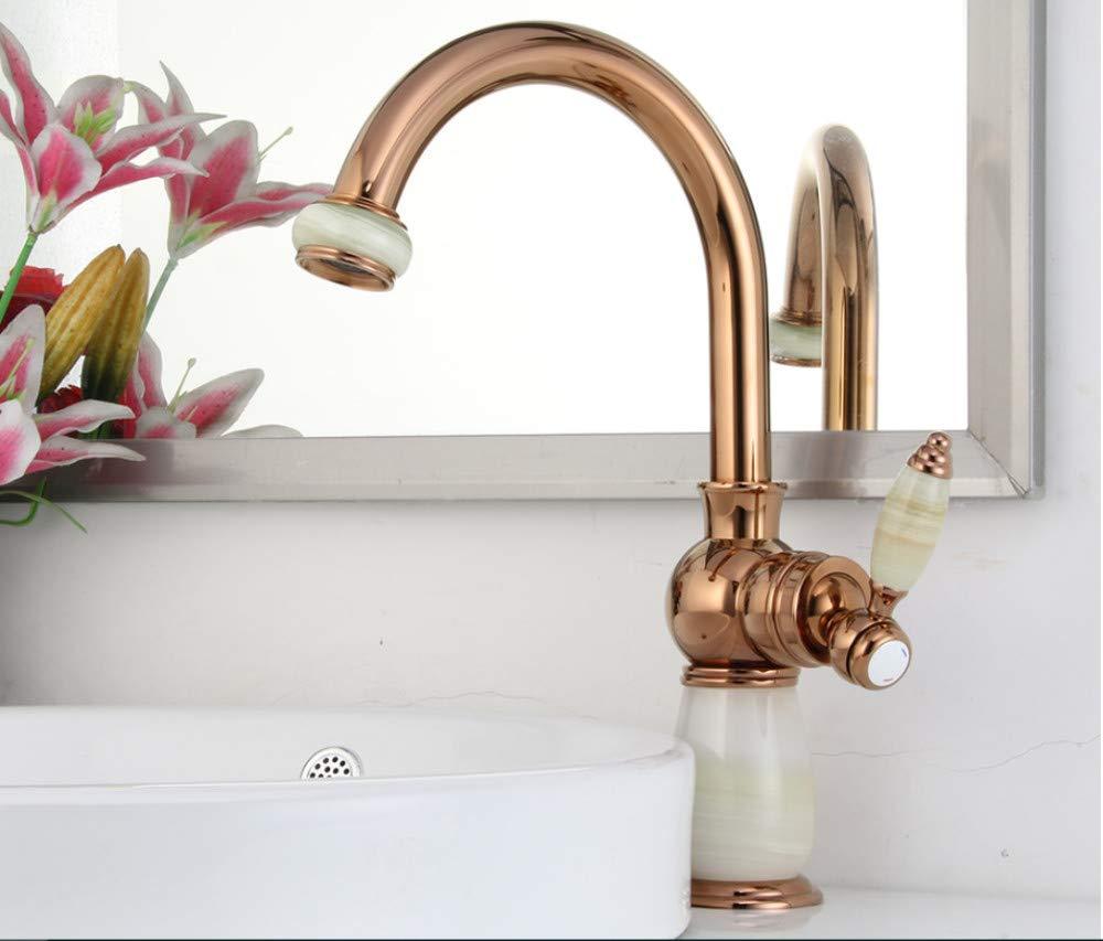 Xiehao Basin Faucet Basin pink gold Mixer Taps Waterfall Bathroom Mixer Faucets Bath Deck Mounted Bathroom Faucets Taps