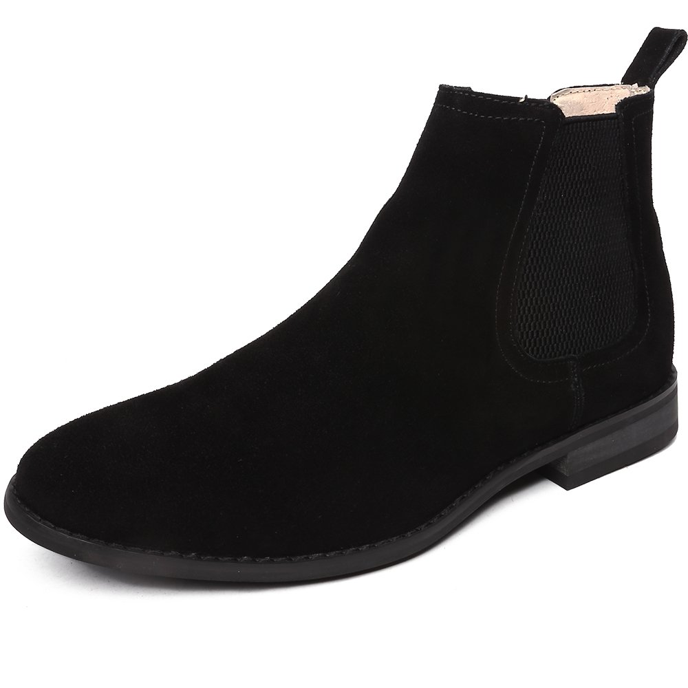 OUOUVALLEY Classic Slip-on Original Suede Chelsea Boots (11 N(A) US, Black) by OUOUVALLEY