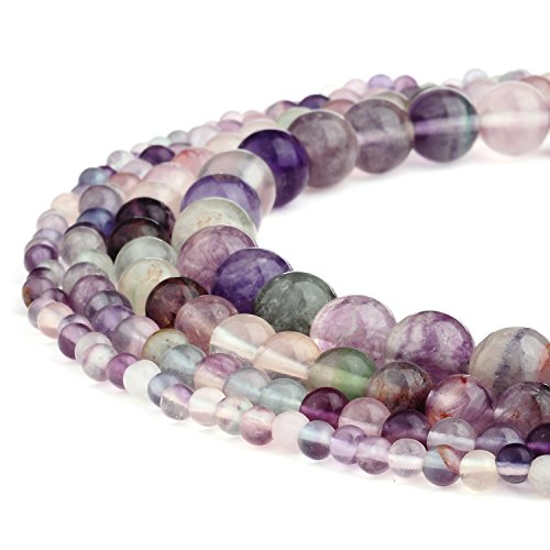 RUBYCA Wholesale Natural Fluorite Gemstone Round Loose Beads for DIY Jewelry Making 1 Strand - 10mm (Fluorite Green Necklace)