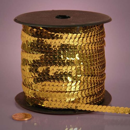 Gold Metallic Sequins, 6mm X 80Yd (Dot Sequin Trim)