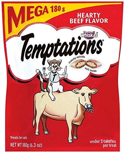 TEMPTATIONS Classic Treats for Cats Hearty Beef Flavor 6.3 Ounces (Pack of 10) by Temptations