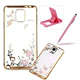 Rubber Case For Galaxy Note 4,For Galaxy Note 4 Clear Case Soft TPU Back Cover With Bling Glitter Design,Herzzer Luxury Gold Electroplate Plating Bumper Frame Pink Flower Pattern Crystal Smart Skin Case