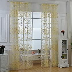 PanDaDa Floral Sheer Voile Curtain Drape Panel Tulle Valances Yellow