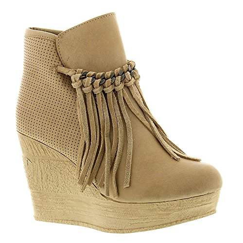 Sbicca Women's ZIng Wedge Boot, Natural, 7.5 B US - Faux Suede Wedge Boot
