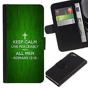 KLONGSHOP // Tirón de la caja Cartera de cuero con ranuras para tarjetas - BIBLIA Guarde la calma y vivir en paz Romanos 12:18 - Apple Iphone 6 //
