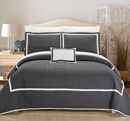 Chic Home 8 Piece Mesa Hotel Collection 2 Tone Banded Quilted Geometrical Embroidered, Quilt In A Bag, Includes Sheets Set Quilt Set Shams And Decorative Pillows Included, Queen, Grey
