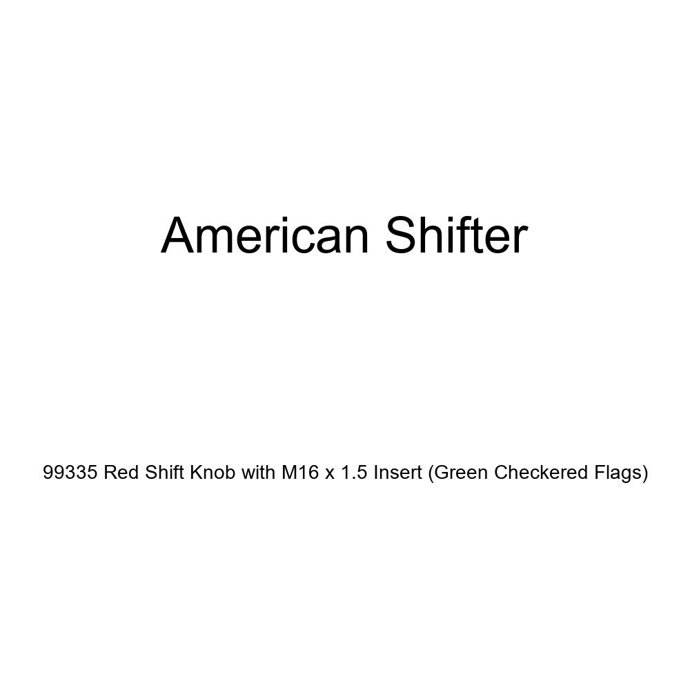 American Shifter 99335 Red Shift Knob with M16 x 1.5 Insert Green Checkered Flags