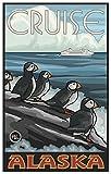 """Alaska Puffins Travel Art Print Poster by Paul A. Lanquist (12"""" x 18"""")"""