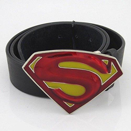 New Western Superman Fashion Men Metal Belt Buckle Leather Red YellowD