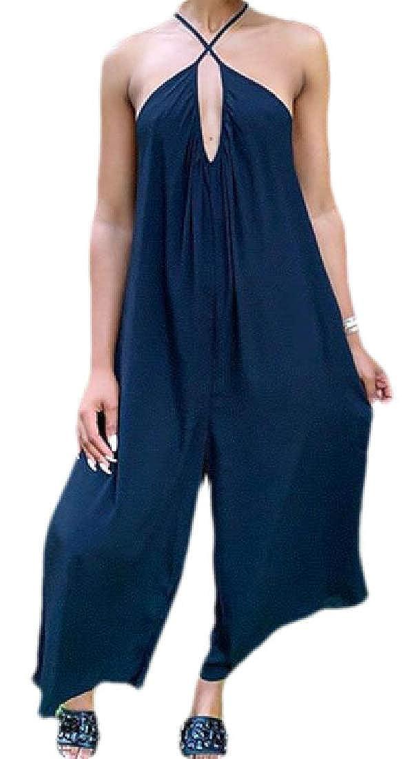 OTW Womens Baggy Pockets Wide Leg Backless Fashion Romper Jumpsuits