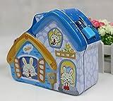 Goodscene Cartoon Piggy Bank Novel House Piggy Bank Innovative Tin Canister (Blue)