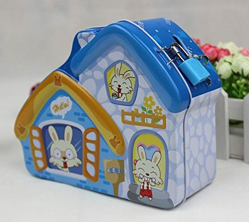 Goodscene Cartoon Piggy Bank Novel House Piggy Bank Innovative Tin Canister (Blue) by Goodscene