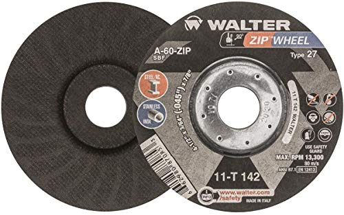 - Walter Surface Technologies 11T142 ZIP Wheel High Performance Cutoff Wheel, Type 27, Metal Hub Quick Change Symmetrical, Aluminum Oxide, 4-1/2