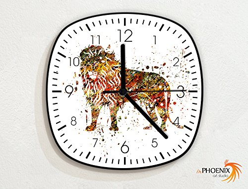 Lion - Paint Brush Splash Color Art Drops - Novelty Gift - Custom Name Wall Clock