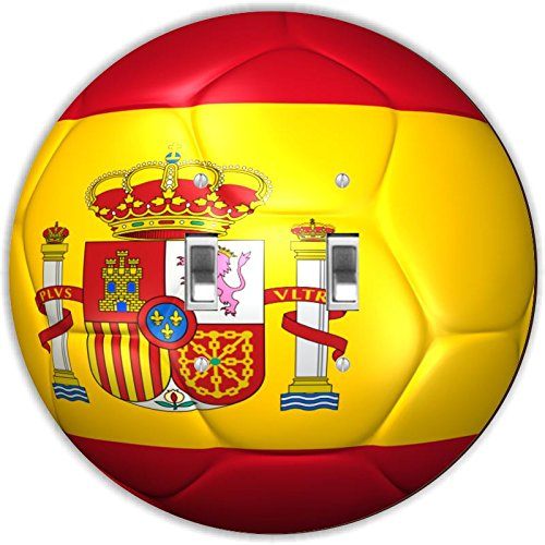 Rikki Knight RND-LSPDBL-67 Spain Team World Cup Flag Soccer Ball Football Round Design Double Toggle Light Switch Plate by Rikki Knight