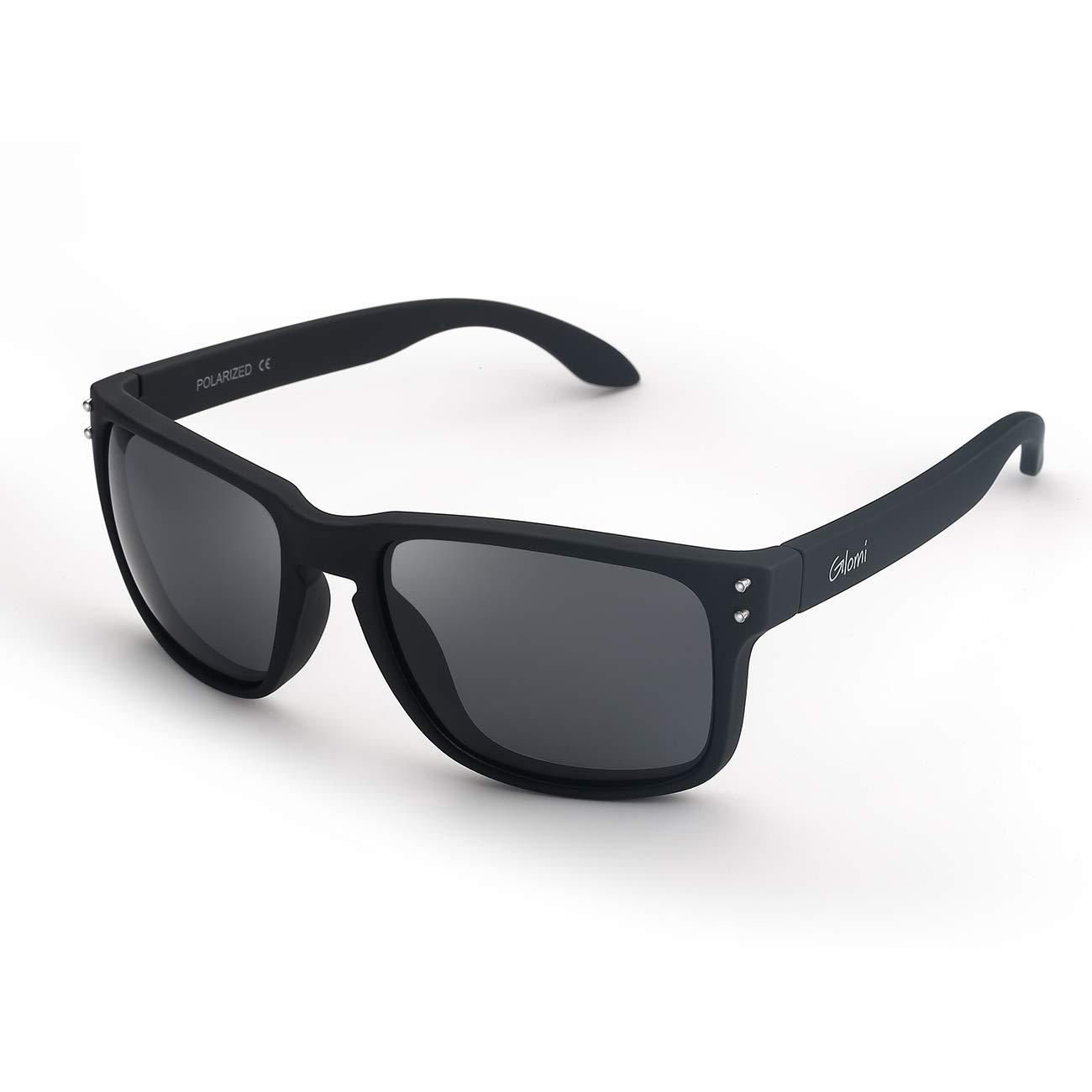 Glomi Occhiali da Sole Wayfarer Polarizzati da Uomo Donna, 100% Protezione UV400, Antiriflesso, Design con Rivetti 100% Protezione UV410 WSH-1801