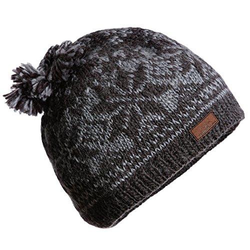 Beanie Hand Knit Ski Cap 100% Wool for Men or Women Designed by CacheAlaska - Grey