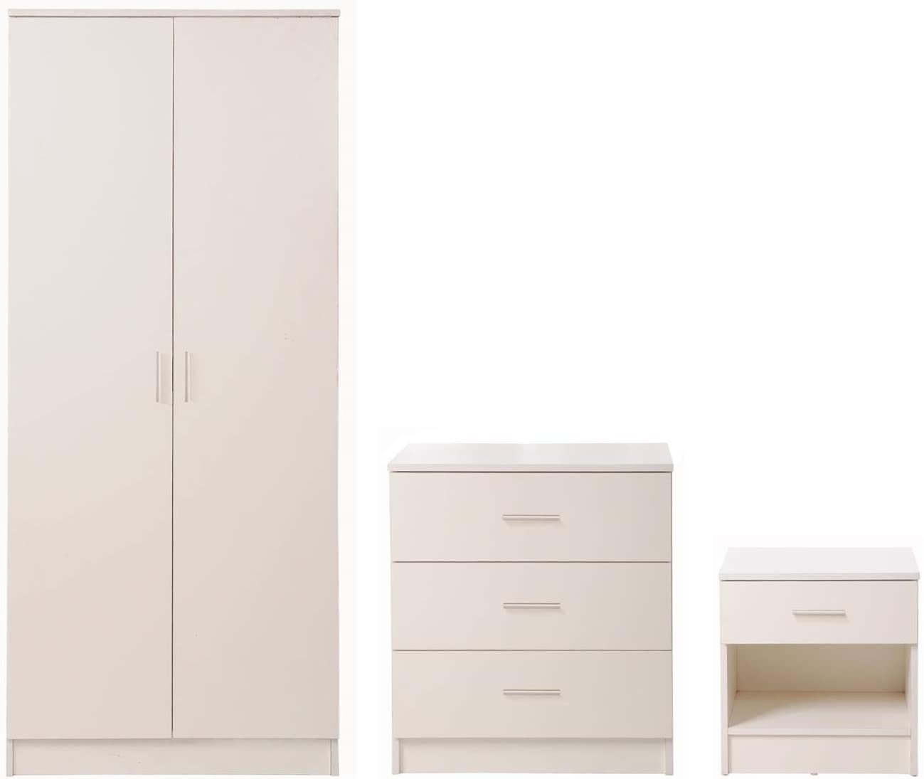 Timber Art Design 3 Piece Bedroom Furniture Set Wardrobe Chest Drawers Bedside Table White Amazon Co Uk Kitchen Home