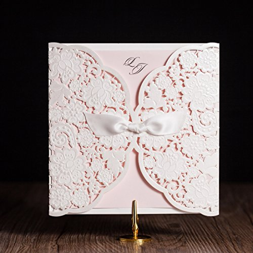 Wishmade 50x White Laser Cut Lace Wedding Invitation Cards with Embossed Hollow Floral for Engagement Birthday Bridal Shower Baby Shower Quinceanera Party with Ribbon
