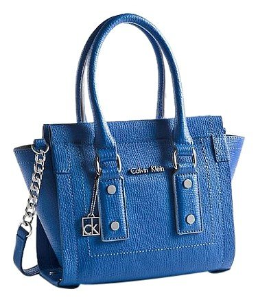 Calvin Klein Daron Patent-trimmed Crossbody Micro Tote Blue Satchel