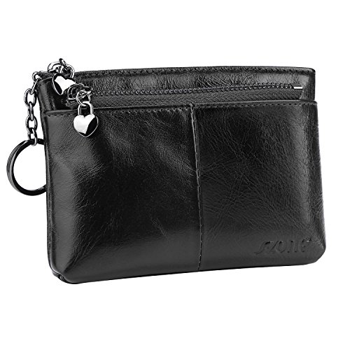 S-ZONE Women's Genuine Leather Mini Wallet Change Coin Purse Card Holder with Key Ring (Black)