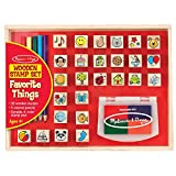 "Melissa & Doug Wooden Favorite Things Stamp Set, Arts & Crafts, Sturdy Wooden Storage Box, Washable Ink, 26 Pieces, 10.45"" H x 8.25"" W x 1.6"" L"