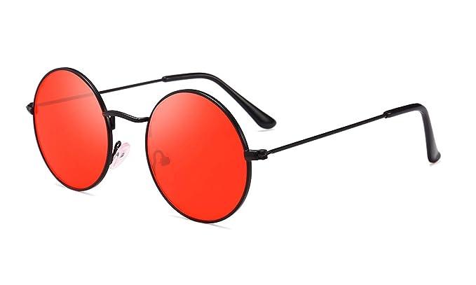 117c844426 Round Retro Sunglasses Men Women Steampunk Style Circle Sun Glasses  (Black Red