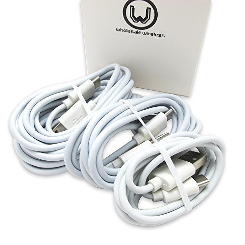 Three (3) Samsung Galaxy S8; S8+ Motorola Droid Z / Z Force / Z Play / Google Pixel / Pixel XL LG G5 G6 USB-C Fast Data Charging Cables Nexus 6P – White 3, 5, 10 Foot