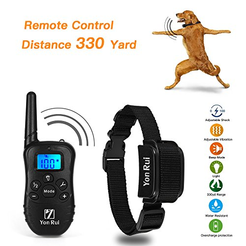 Remote Dog Training Collar YonRui Shock Collars for Dogs -Adjustable, Rechargeable and Waterproof , 330 Yard Range, 4 Modes (Shock, Light, Vibration & Beep), Safe for Small Medium and Large Dogs