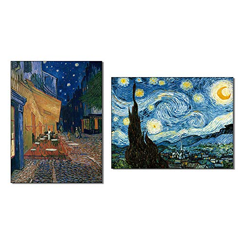 AGCary 2 Pcs Frameless Starry Night and Cafe Terrace at Night by Vincent Van Gogh Oil Painting Reproduction Modern Print on Canvas Wall Art for Home Decorations 12
