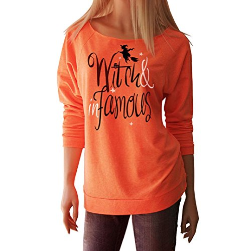 Halloween Shirts - T-Shirt Halloween Women Witch In Famous Long Sleeve Tops Blouse Shirt By Haolly (Orange A, S)