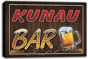 scw3-086499 KUNAU Name Home Bar Pub Beer Mugs Cheers Stretched Canvas Print Sign
