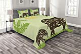 Lunarable Grunge Bedspread Set Queen Size, African Elephants on The Field Walking Under Sun Jungle Cute Animal Artwork Print, Decorative Quilted 3 Piece Coverlet Set with 2 Pillow Shams, Green Brown