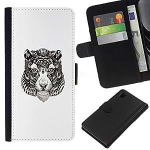 NEECELL GIFT forCITY // Billetera de cuero Caso Cubierta de protección Carcasa / Leather Wallet Case for Sony Xperia Z1 L39 // Tribal del tatuaje del tigre