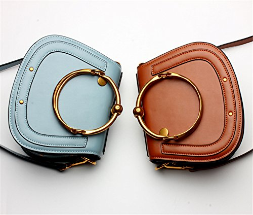 La mujer Xinmaoyuan Bolsos Bolso De cuero simple anillo metálico hembra Paquete Portasilla hombro bolsa bandolera,azul Color caramelo