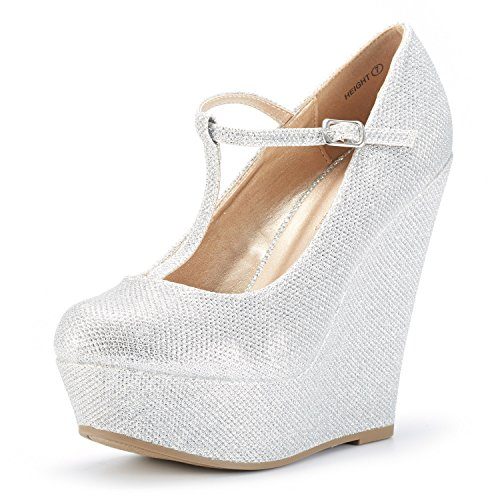 DREAM PAIRS Wedge-Height Silver Glitter Mary Jane Platform Wedges Shoes for Women Size 7.5 B(M) US