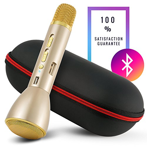Karaoke-Mike MIKEY: Multipurpose Handheld Wireless Portable Microphone and Speaker for Bluetooth Audio Devices, Use with Androids and iOS in 3 Colors (Gold) Just Add (Karaoke Midi Files)