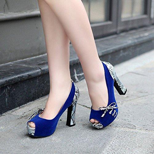 Mujer Bombas Blue Zapatos RAZAMAZA Toe Peep ZTwq48d