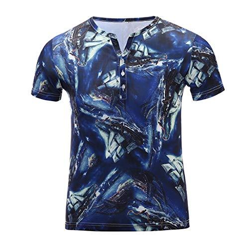 YOcheerful Men's Tops Summer Short Sleeve Fitness Casual T-Shirt Blouse Printed Tops(Blue, 2XL)