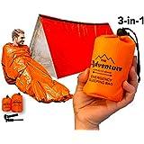 Emergency Tent, Emergency Sleeping Bag, Combo Prepper kit Survival Tent, Emergency Shelter, Tube Tent, Survival Tarp - Includes Tent, Sleeping Bag, Fire Starter and Whistle, Adventure Supply Co.