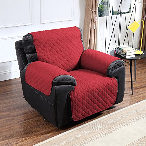 (Argstar Reversible Cover of Recliner Chair Furniture Slipcover Home Decor Wine Red/Tan)