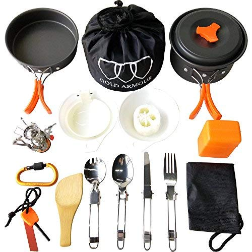 Gold Armour 10-17Pcs Camping Cookware Mess Kit Backpacking Gear & Hiking Outdoors Bug Out Bag Cooking Equipment Cookset | Lightweight, Compact, Durable Pot Pan Bowls (Orange, 17pcs)